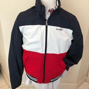 Lightweight COLOR BLOCK Jacket M Red/Wht/Navy Hood